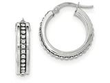 14k White Gold With Swarovski Elements Hoop Earrings style: TF742