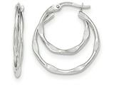 14k White Gold Textured And Polished Fancy Hoop Earrings style: TF748