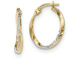 14k And Rhodium Textured And Polished Oval Hoop Earrings style: TF749