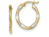 14k And Rhodium Textured And Polished Oval Hoop Earrings style: TF751