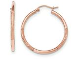 14k Rose Gold Light Weight Satin Diamond Cut Hoop Earrings style: TF758