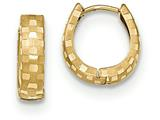 14k Diamond Cut 4mm Patterned Hinged Hoop Earrings style: TF773