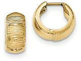 14k Gold Textured And Polished Hinged Hoop Earrings style: TF775