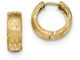 14k Gold Textured And Polished Hinged Hoop Earrings style: TF776