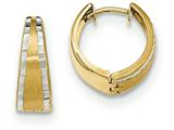 14k Gold Textured And Polished Hinged Hoop Earrings style: TF777