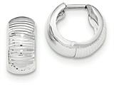14k White Gold Textured And Polished Hinged Hoop Earrings style: TF779