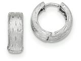 14k White Gold Textured And Polished Hinged Hoop Earrings style: TF780