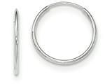 14k White Gold Polished Endless Tube Hoop Earrings style: TF790