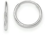 14k White Gold Polished Endless Tube Hoop Earrings style: TF792
