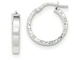 14k White Gold Diamond Cut Edge Polished Hoop Earrings style: TF815
