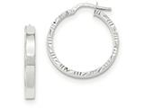 14k White Gold Diamond Cut Edge Polished Hoop Earrings style: TF816