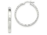 14k White Gold Diamond Cut Edge Polished Hoop Earrings style: TF817
