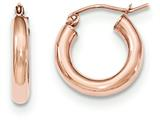 14k Rose Gold Polished Light Weight Small Tube Hoop Earrings style: TF818