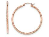 14k Rose Gold Polished Light Weight Large Diamond Cut Tube Hoop Earrings style: TF819