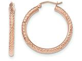 14k Rose Gold Diamond-cut 3mm Round Hoop Earrings style: TF823