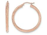 14k Rose Gold Diamond-cut 3mm Round Hoop Earrings style: TF824