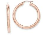 14k Rose Gold Polished Tube Hoop Earrings style: TF828