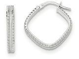 14k Wht Gold Polish/satin Ridge Edge Concave Square Hoop Earrings style: TF834