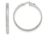 14k White Gold Polished/satin Ridged Edge Concave Hoop Earrings style: TF835