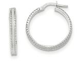 14k White Gold Polished/satin Ridged Edge Concave Hoop Earrings style: TF836