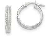 14k White Gold Polished/satin Ridged Edge Concave Hoop Earrings style: TF837