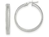 14k White Gold Polished/satin Concave Ridged Edge Hoop Earrings style: TF839