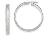 14k White Gold Polished/satin Concave Ridged Edge Hoop Earrings style: TF840