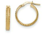 14k Polished/satin Ridged Edge Concave Hoop Earrings style: TF845