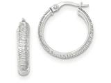 14k White Gold Diamond Cut Hoop Earrings style: TF860