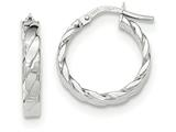 14k White Gold Patterned Hoop Earrings style: TF864