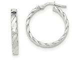 14k White Gold Patterned Hoop Earrings style: TF867