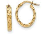 14k Patterned Oval Hoop Earrings style: TF868