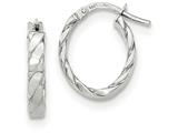 14k White Gold Patterned Oval Hoop Earrings style: TF869