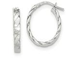 14k White Gold Patterned Oval Hoop Earrings style: TF871