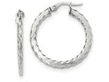 14k White Gold Scalloped Edge Polished Hoop Earrings style: TF875