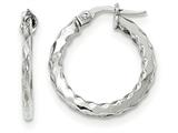 14k White Gold Scalloped Edge Polished Hoop Earrings style: TF877