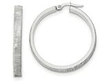 14k White Gold Bright Cut Hoop Earrings style: TF882