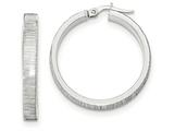 14k White Gold Diamond Cut Hoop Earrings style: TF883
