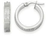 14k White Gold Diamond Cut Hoop Earrings style: TF885