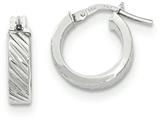 14k White Gold Textured Flat Edge Hoop Earrings style: TF886