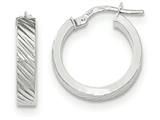 14k White Gold Textured Flat Edge Hoop Earrings style: TF887