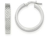 14k White Gold Textured Flat Edge Hoop Earrings style: TF888