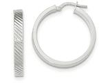 14k White Gold Textured Flat Edge Hoop Earrings style: TF889