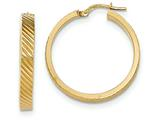 14k Textured Flat Edge Hoop Earrings style: TF890