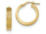 14k Textured Flat Edge Hoop Earrings style: TF892