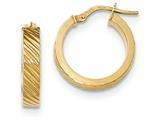 14k Textured Flat Edge Hoop Earrings style: TF892