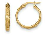 14k Satin And Polished Hoop Earrings style: TF897