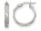 14k White Gold Satin And Polished Hoop Earrings style: TF898
