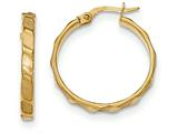 14k Satin And Polished Hoop Earrings style: TF899