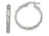 14k White Gold Satin And Polished Hoop Earrings style: TF900
